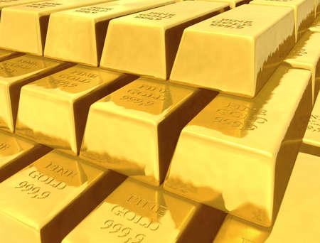 Gold bullions. 3D generated image. Stock Photo - 3743606