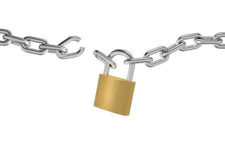 rompiendo: 3D ilustraci�n de una cadena con candado roto en el fondo blanco
