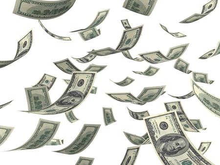 Falling hundred Dollar bills on white. 3D generated image