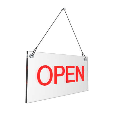 digitally generated image: Glass open hours sign. Digitally generated image.