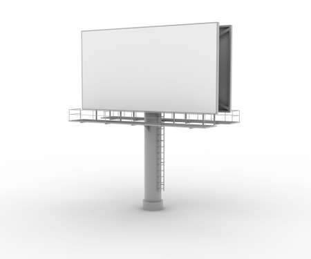 digitally generated: Blank advertising board on white. Digitally generated image.