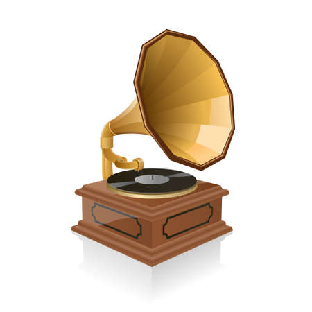 Vector illustration of a gramophone