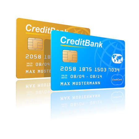 Vector illustration of credit cards. You can use these cards separately for your designs. Illustration