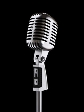 Retro microphone on black. Digitally generated image Stock Photo