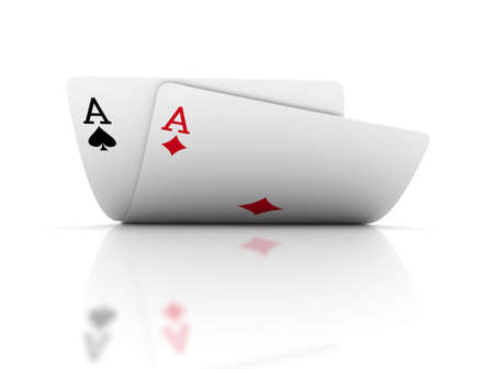 Pair of aces on white. 3D Rendering