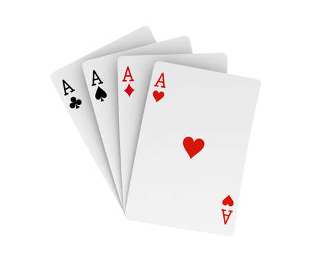 Four aces isolated on white. 3D Rendering Stock Photo