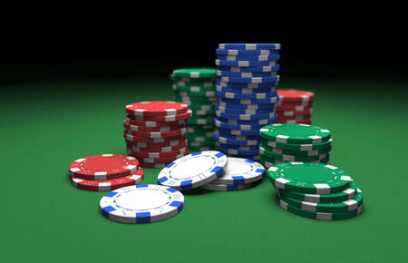 Stacks of poker chips. Computer generated image.