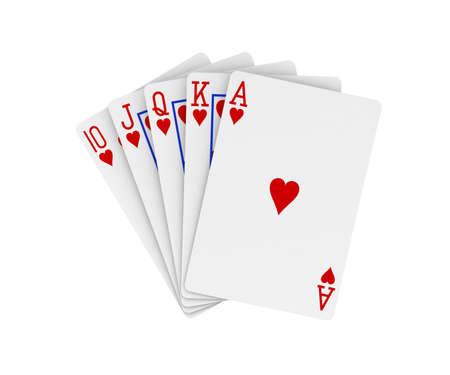 Royal flush. Poker hand. Digitally generated image.