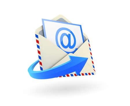 sending: Sobres de correo electr�nico sobre fondo blanco. Imagen generada digitalmente