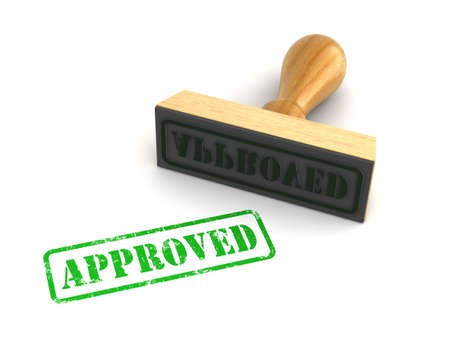 Rubber stamp with Approved sign on white background