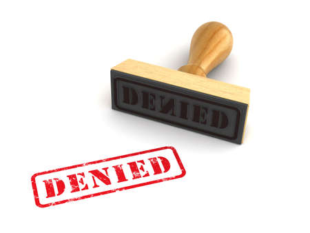 Rubber stamp with Denied sign on white background. Computer generated image
