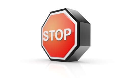 3D Render of a stop road sign in a side view.