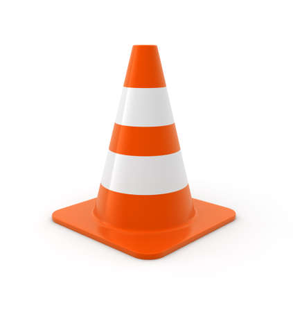 Traffic cone on white Background. Computer generated image. Stock Photo - 6111886