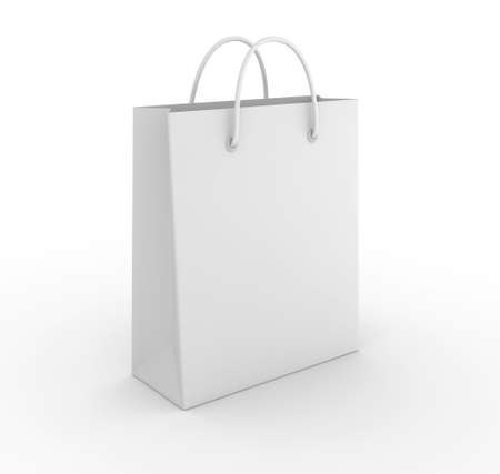 Empty shopping bag on white background. Computer generated image. Stock Photo