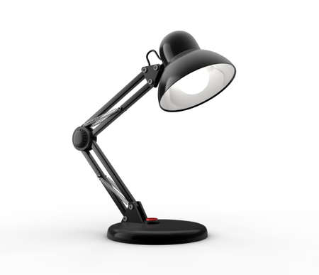 Black desk lamp on white background. Computer generated image.
