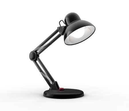Black desk lamp on white background. Computer generated image. photo