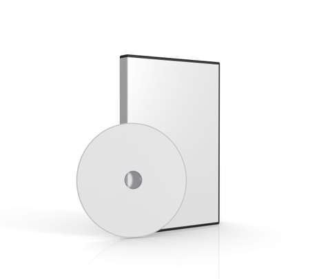 dvd case: Blank DVD case on white background. Computer generated image.