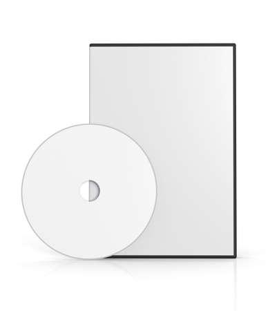 caso: Caso de DVD en blanco sobre fondo blanco. Imagen generada por ordenador. Foto de archivo