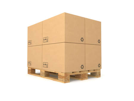 Cardboard boxes on a pallet. Isolated on white background. Computer generated image. photo