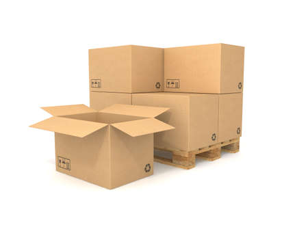 Cardboard boxes on a pallet. Isolated on white background. Computer generated image.