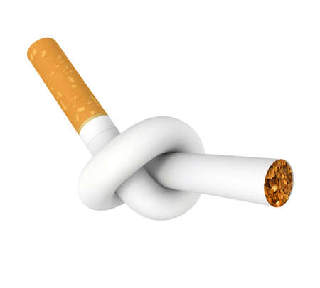 Cigarette tied to a knot. Computer generated image.