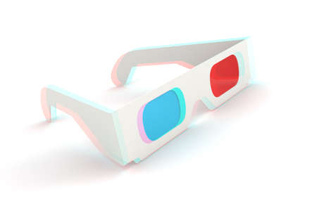 3D Glasses on white background. Anaglyph. Computer generated image.