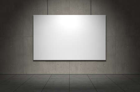 Blank picture frame on concrete wall. Copmuter generated image Stock Photo
