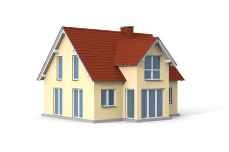 residental: House on white background. Computer generated picture.