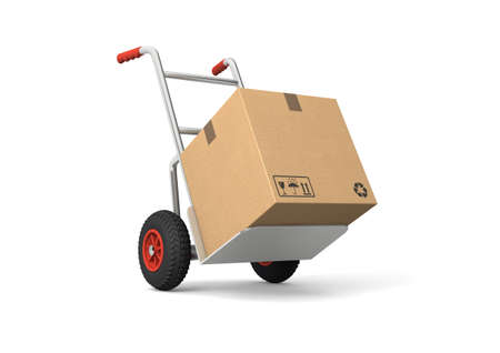 Hand truck with a box. Isolated on white background. Computer generated image. Stock Photo