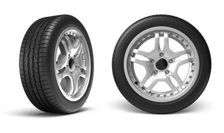 ruedas de coche: Ruedas de coche sobre fondo blanco