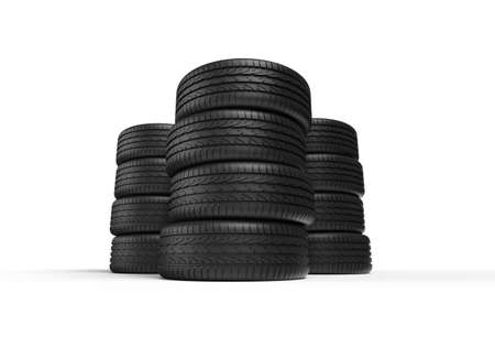 Stacks of tires on white background. Stock Photo