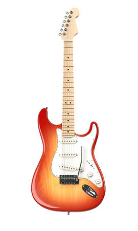 rock n: Isolated electric guitar. Computer generated image.  Stock Photo