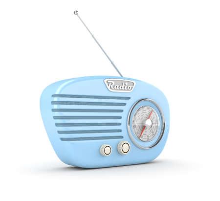 Radio rétro sur fond blanc. Image générée par ordinateur.