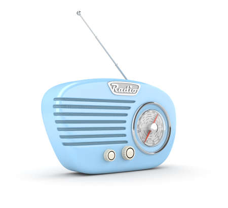 Retro radio on white background. Computer generated image.