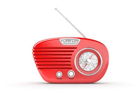 computer generated image: Retr� radio su sfondo bianco. Immagini generate al computer.