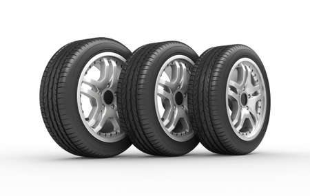 Car wheels on white background. Computer generated image