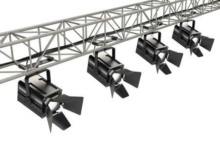 computer generated image: Luci del palco su sfondo bianco. Immagini generate al computer.