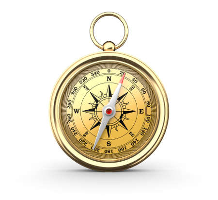 gold metal: Golden compass on white background. Computer generated image.