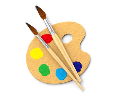 paleta de pintor: Paleta de artistas aislado en blanco. Imagen generada por ordenador.