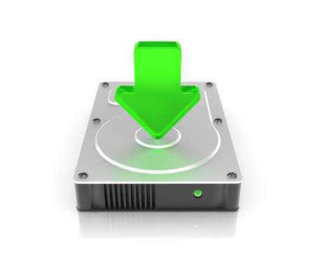 Hard drive on white background. Computer generated image. Stock Photo