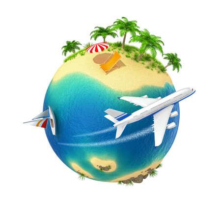 Kleine planeet met een tropisch eiland geïsoleerd op witte achtergrond Computer gegenereerde afbeelding Stockfoto