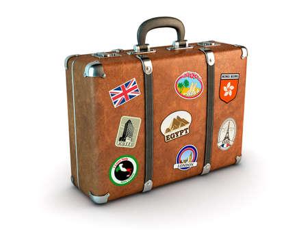 maleta: Maleta de viaje con pegatinas generado por ordenador imagen