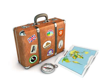 maleta: Maleta de viaje con br�jula y mapa de imagen del mundo de la inform�tica genera
