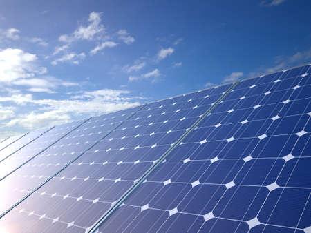 PLACAS SOLARES: Paneles solares vista lateral azul cielo de fondo