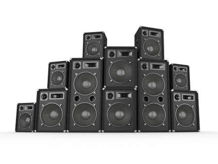 speaker: Pila de altavoces de concierto en blanco de fondo generado por ordenador