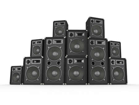 Stack of concert speakers on white background  Computer generated image