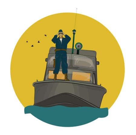 gun control: The border guard in the boat, looking through binoculars Illustration