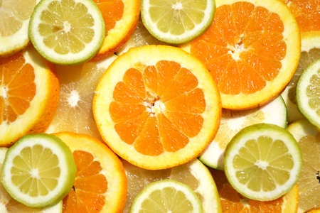 various citruses in a colorful random composition Stock Photo
