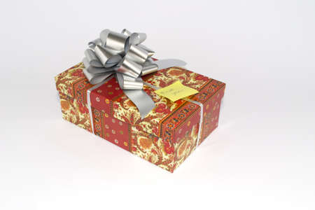 colored present box on white background