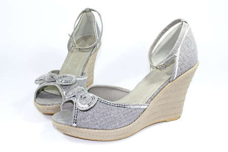 ankle strap: grey wedge-heeled shoes with ankle-straps and spangles